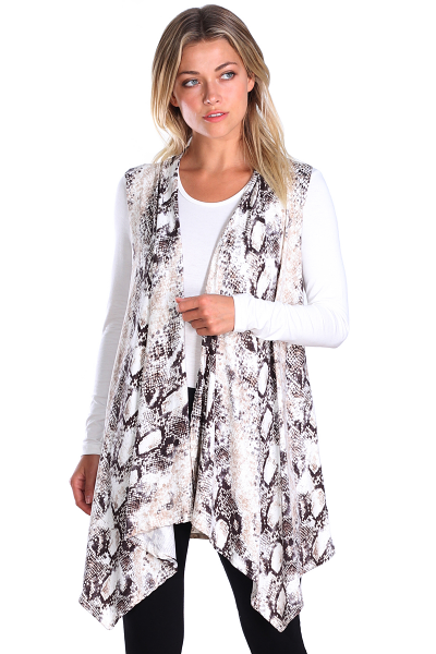 Women's Sleeveless Long Drape Cardigan Plus Size Available - Made In USA - DT44