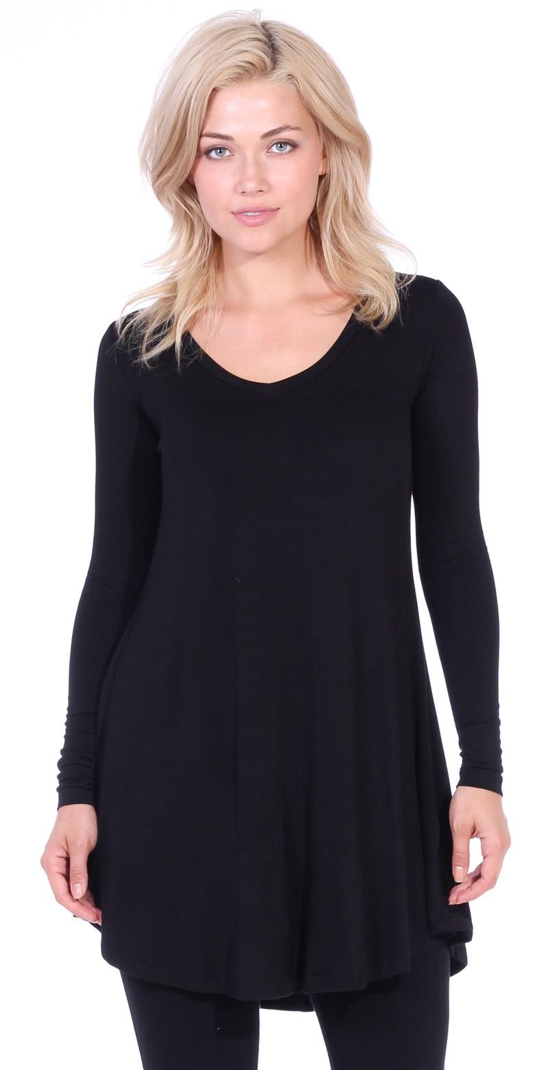 d6c2e4cf92d94 Women s Tunic Tops For Leggings - Long Sleeve Vneck Shirt - Regular and Plus  Size -