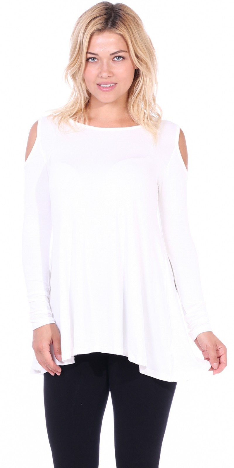 68e528e8f71 Open Cut Out Cold Shoulder Tunic Top for Women - Long Sleeve Top for  Leggings -