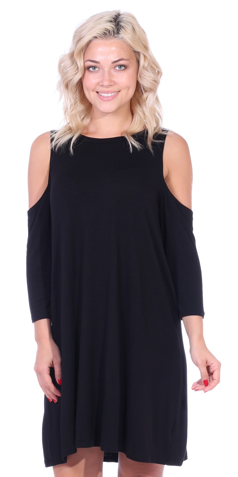 Womens Cold Shoulder Shift Flowy Dress Round Neck 3/4 Sleeve - Made In USA - Black