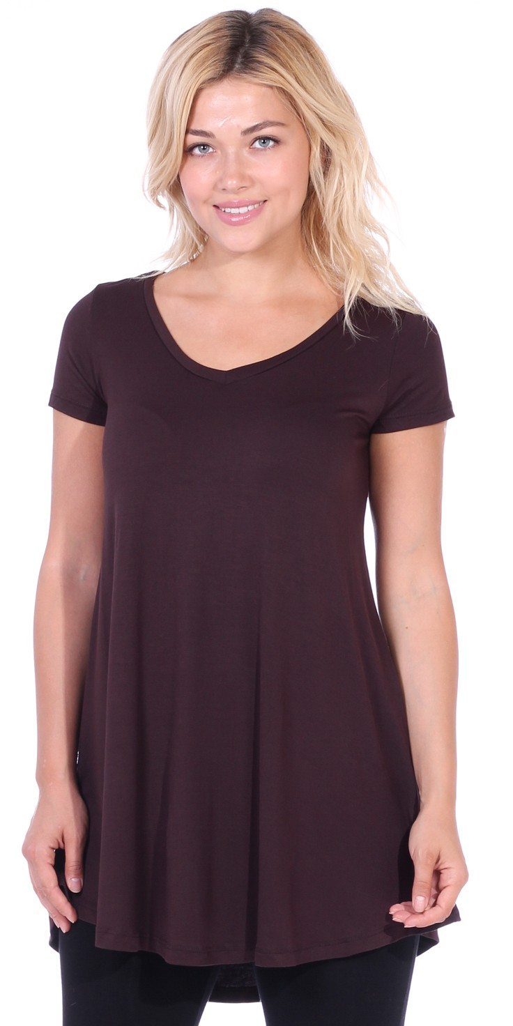 Women's Tunic Top Dress Short Sleeve - Wear With Leggings in Regular and Plus Size - Made In USA - Brown
