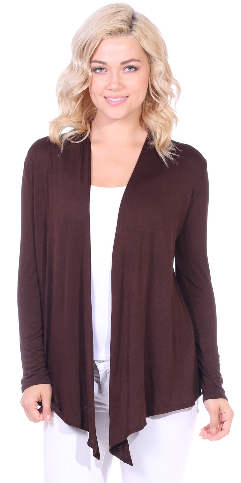 Super-Soft Open Front Drape Cardigan - Made In USA - Brown