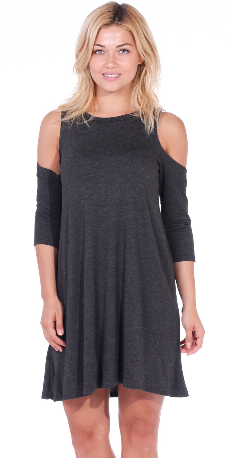 Womens Cold Shoulder Shift Flowy Dress Round Neck 3/4 Sleeve - Made In USA - Charcoal