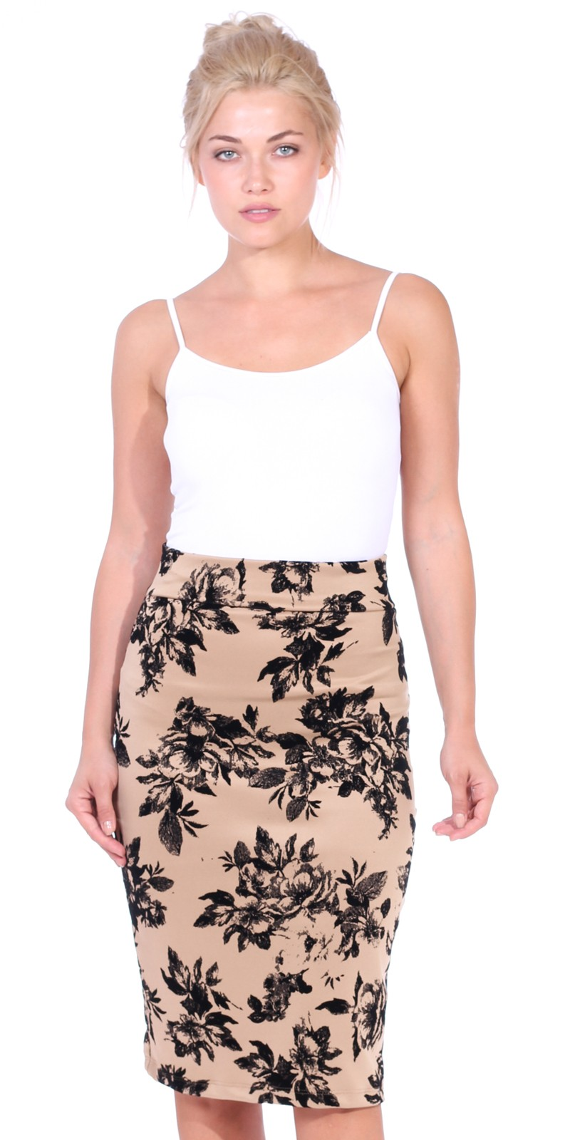 Womens Stretch Pencil Skirt Knee Length for Work or Office - Shaping Bodycon Midi Skirt - Made In USA - Cream