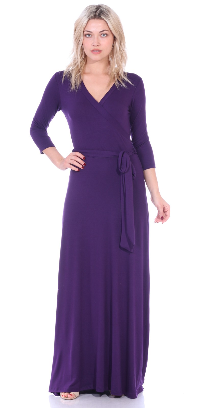 Maxi Dress With Sleeves - Casual Colorful Floral Summer Wedding Prints - Made In USA - Eggplant