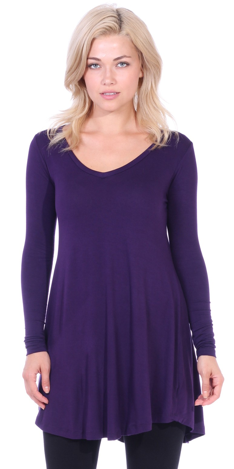 Women's Tunic Tops For Leggings - Long Sleeve Vneck Shirt - Regular and Plus Size - Made in USA - Eggplant
