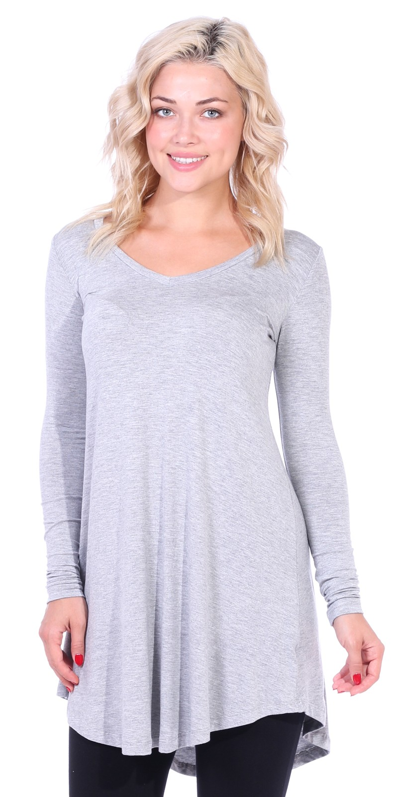 Women's Tunic Tops For Leggings - Long Sleeve Vneck Shirt - Regular and Plus Size - Made in USA - HGray