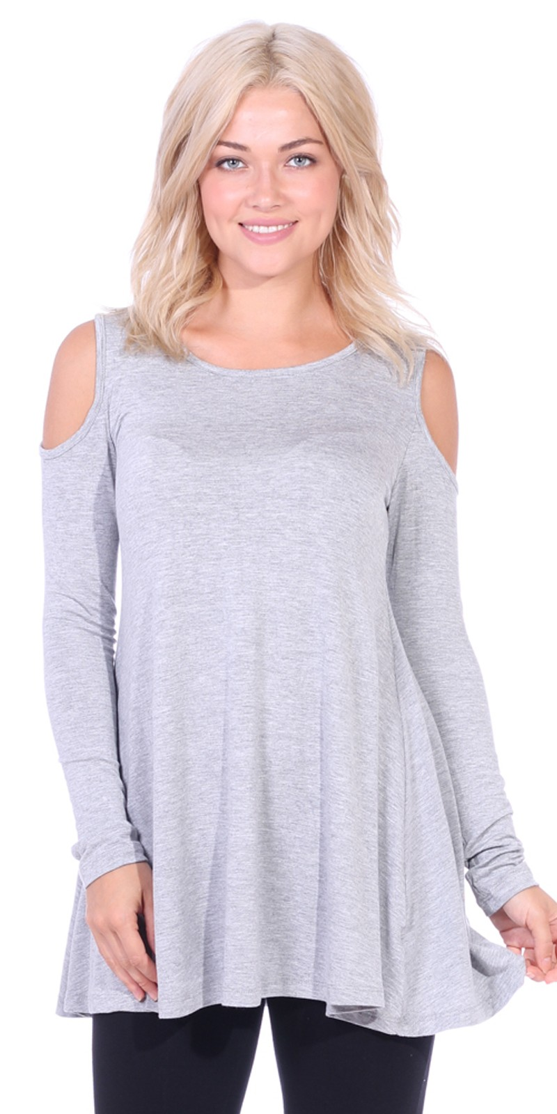 Open Cut Out Cold Shoulder Tunic Top for Women - Long Sleeve Top for Leggings - Made In USA - HGray