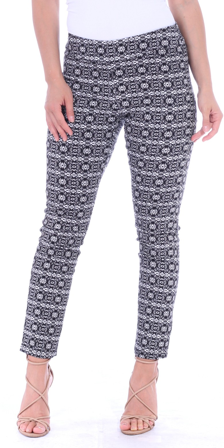 Pull On Pants For Women Ankle Length - Casual Mid Rise Stretch Office Work Pants - M2