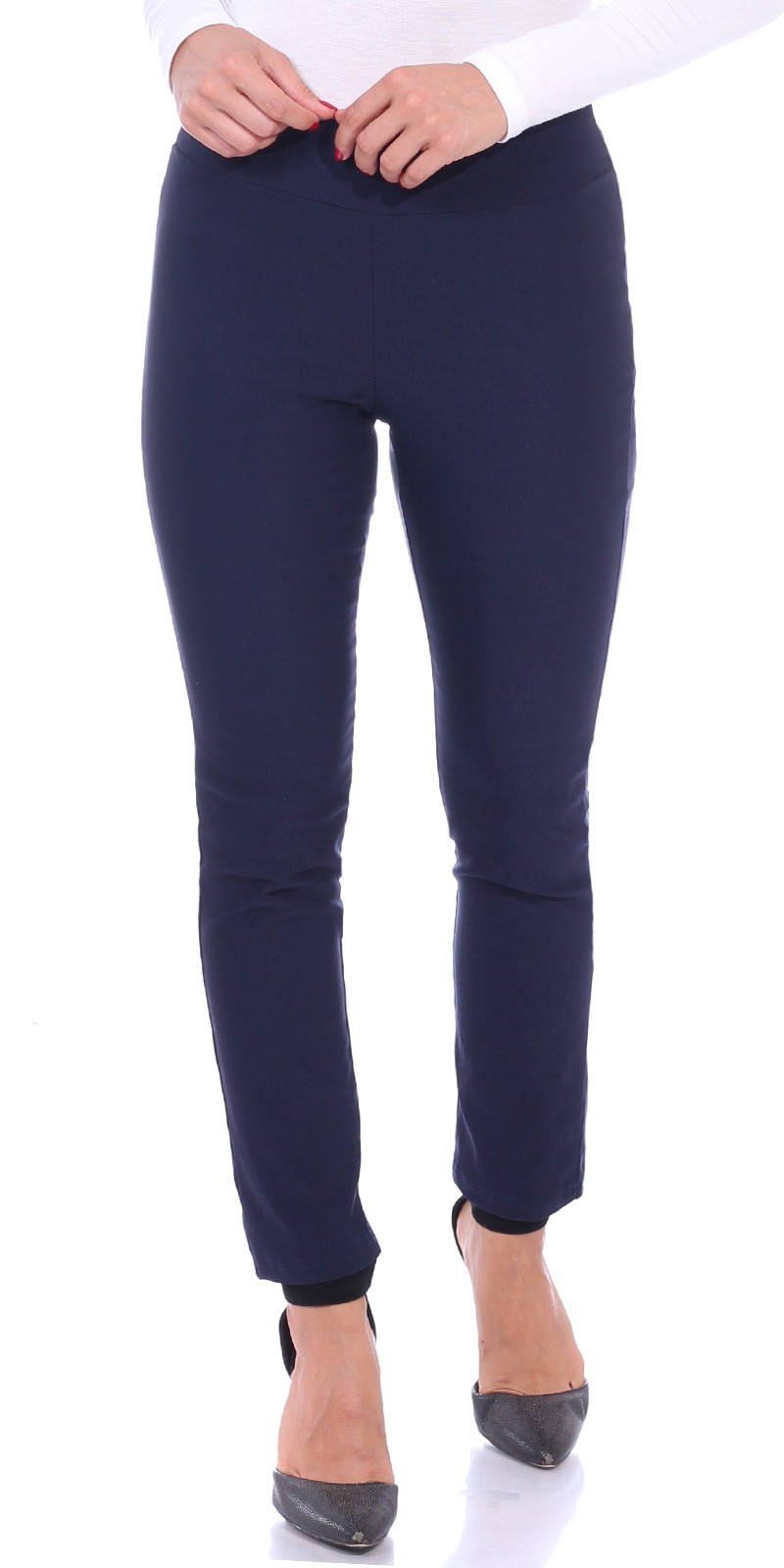 Pull On Pants For Women Ankle Length - Casual Mid Rise Stretch Office Work Pants - Navy