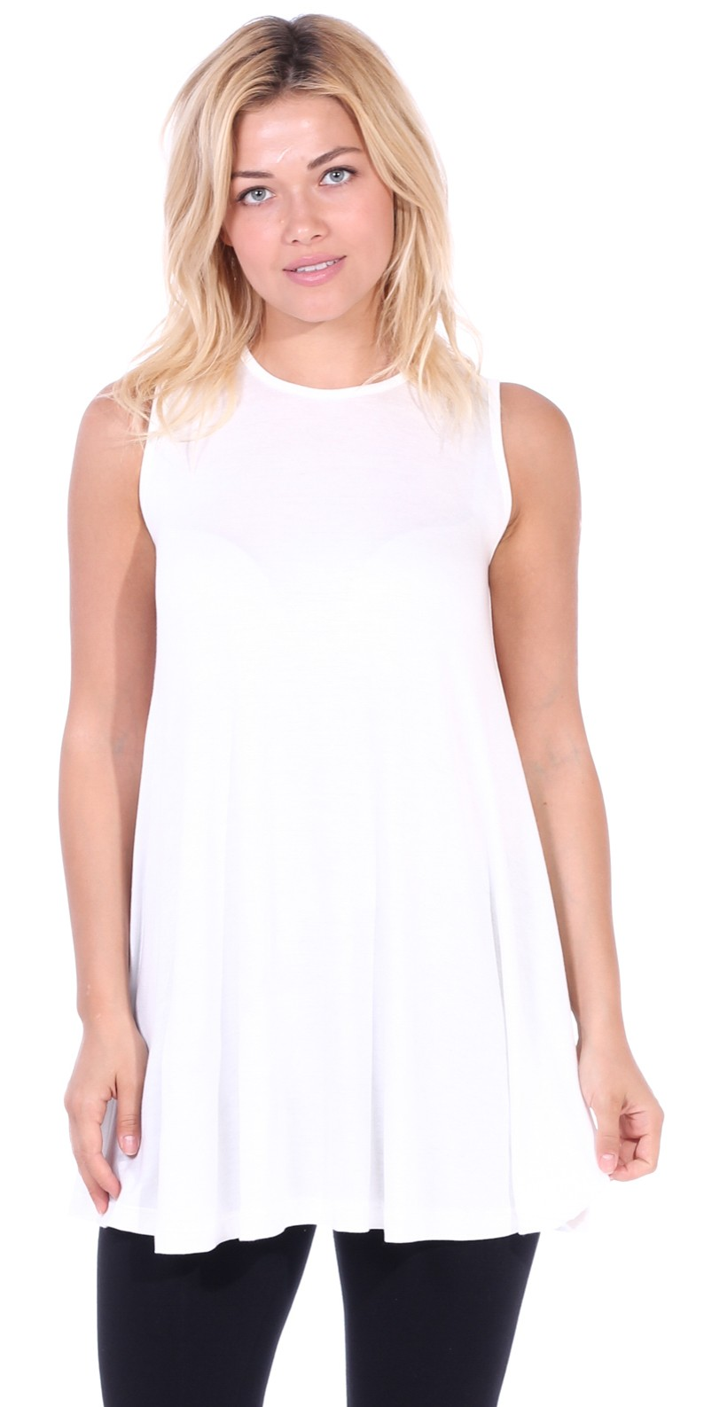 Women's Sleeveless Tank Top Tunic - Loose Fit Flowy Tunic Tank For Leggings - Made In USA - Pearl