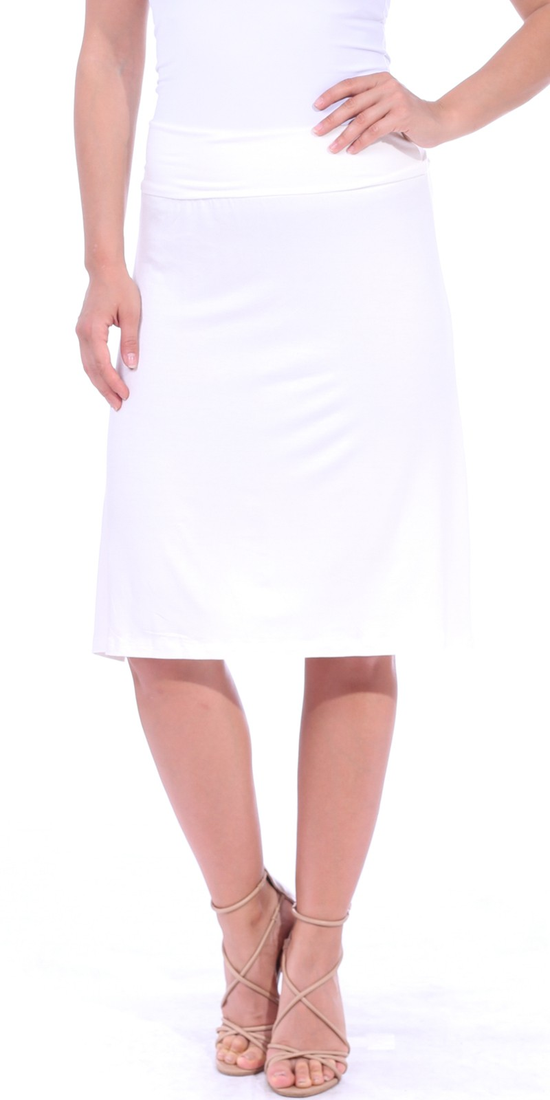 Short Maxi Skirt - Knee Length Fold Over High Waisted Midi Skirt - Made in USA - Pearl