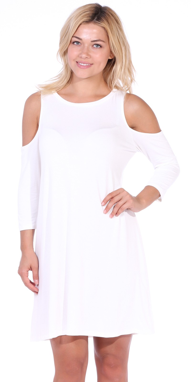 Womens Cold Shoulder Shift Flowy Dress Round Neck 3/4 Sleeve - Made In USA - Pearl