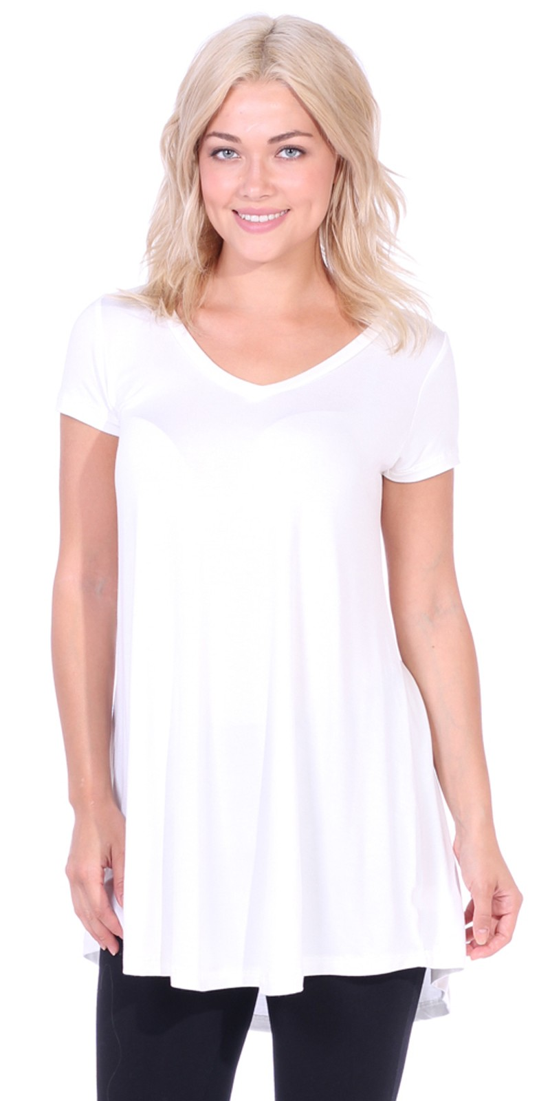 Women's Tunic Top Dress Short Sleeve - Wear With Leggings in Regular and Plus Size - Made In USA - Pearl