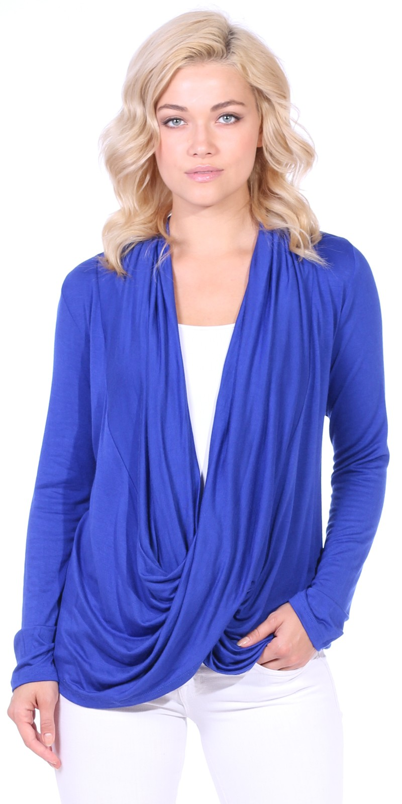 Long Sleeve Criss Cross Cardigan Also in Plus - Made In USA - Royal