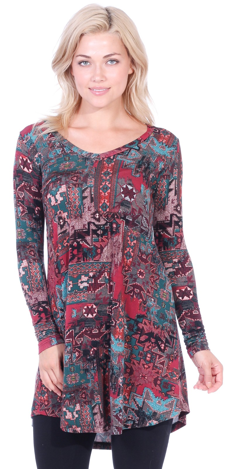 Women's Tunic Tops For Leggings - Long Sleeve Vneck Shirt - Regular and Plus Size - Made in USA - ST17