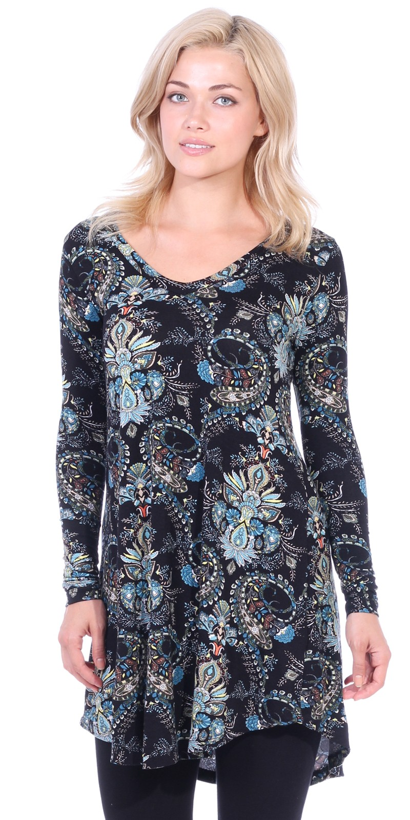 Women's Tunic Tops For Leggings - Long Sleeve Vneck Shirt - Regular and Plus Size - Made in USA - ST24