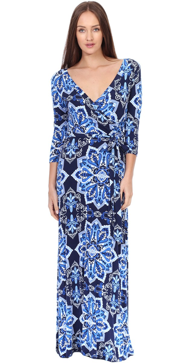 Maxi Dress With Sleeves - Casual Colorful Floral Summer Wedding Prints - Made In USA - ST30