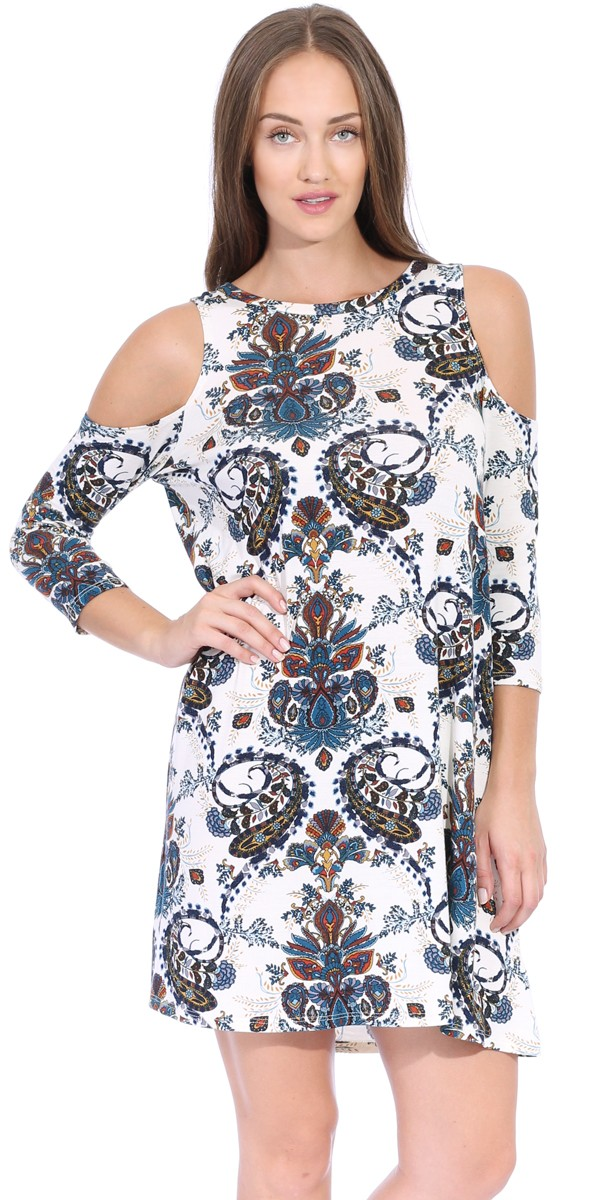 Womens Cold Shoulder Shift Flowy Dress Round Neck 3/4 Sleeve - Made In USA - ST54