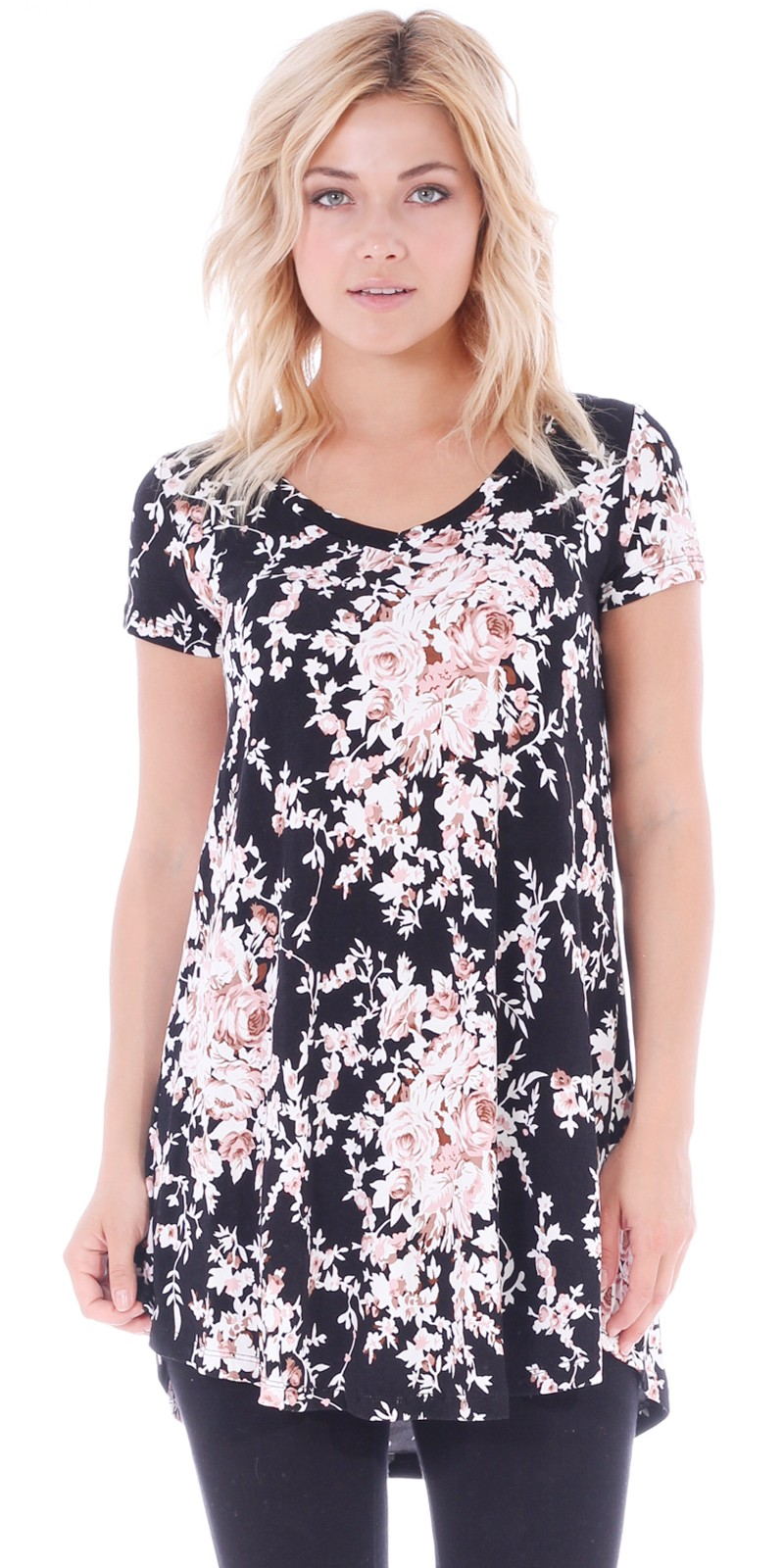 Women's Tunic Top Dress Short Sleeve - Wear With Leggings in Regular and Plus Size - Made In USA - ST57
