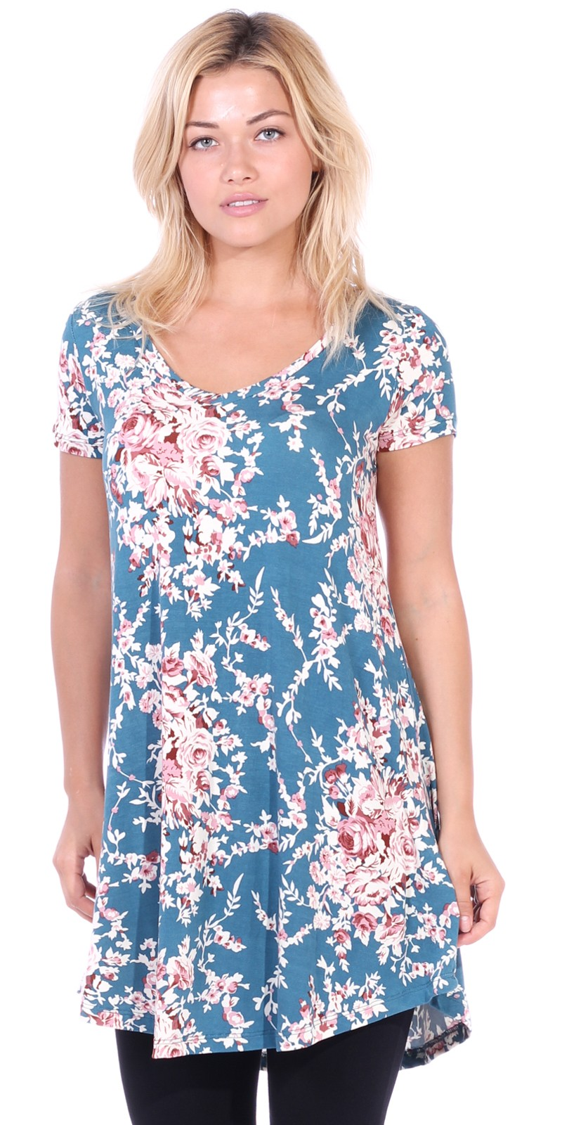 Women's Tunic Top Dress Short Sleeve - Wear With Leggings in Regular and Plus Size - Made In USA - ST60