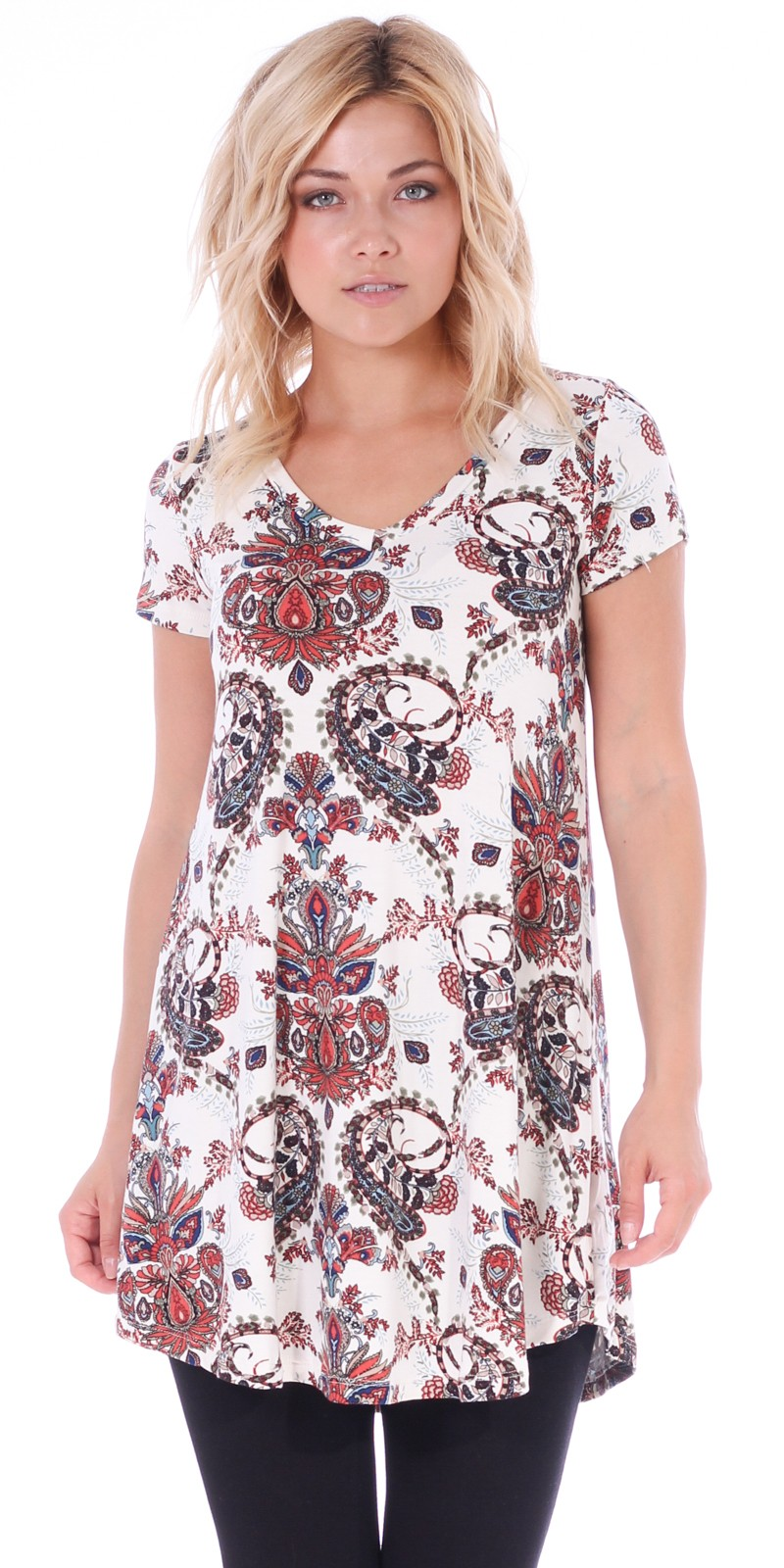 Women's Tunic Top Dress Short Sleeve - Wear With Leggings in Regular and Plus Size - Made In USA - ST74
