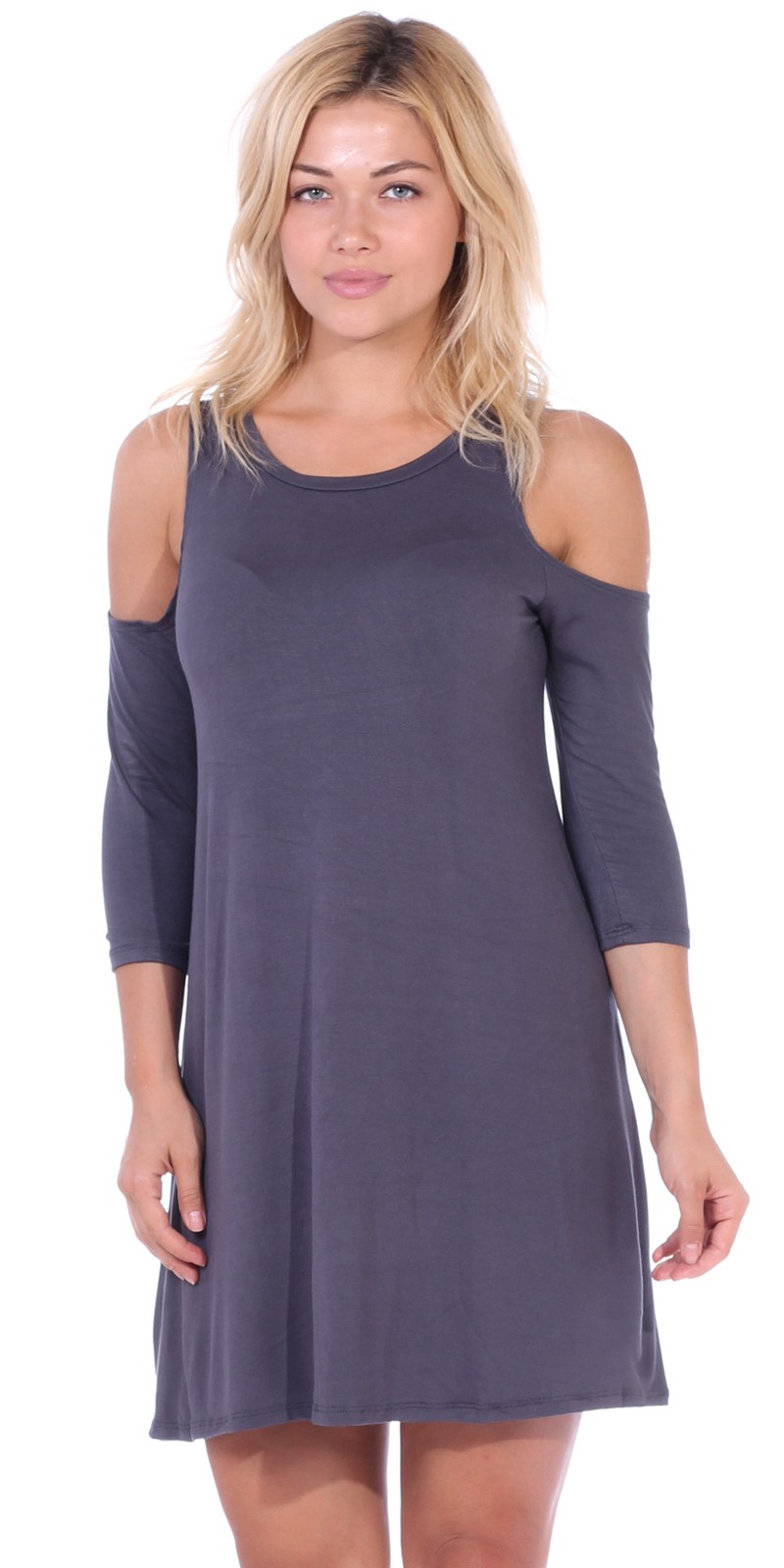 Womens Cold Shoulder Shift Flowy Dress Round Neck 3/4 Sleeve - Made In USA - Slate