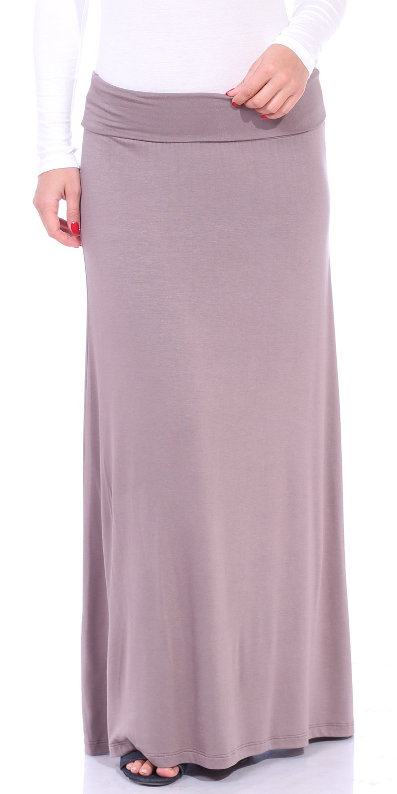 Comfortable Fold-Over Maxi Skirt - Made in USA - Toffee