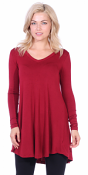 Women's Tunic Tops For Leggings - Long Sleeve Vneck Shirt - Regular and Plus Size - Made in USA - Burgundy