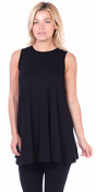 Women's Sleeveless Tank Top Tunic - Loose Fit Flowy Tunic Tank For Leggings - Made In USA - Black