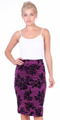 Womens Stretch Pencil Skirt Knee Length for Work or Office - Shaping Bodycon Midi Skirt - Made In USA - Eggplant
