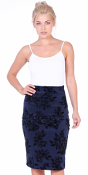 Womens Stretch Pencil Skirt Knee Length for Work or Office - Shaping Bodycon Midi Skirt - Made In USA - Navy