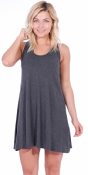 Sleeveless Knee Length Tank Dress - Casual Short Sundress - Made in USA
