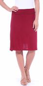 Short Maxi Skirt - Knee Length Fold Over High Waisted Midi Skirt - Made in USA - Burgundy