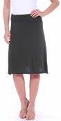 Short Maxi Skirt - Knee Length Fold Over High Waisted Midi Skirt - Made in USA - Olive