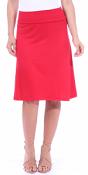 Short Maxi Skirt - Knee Length Fold Over High Waisted Midi Skirt - Made in USA - Red