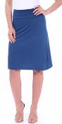 Short Maxi Skirt - Knee Length Fold Over High Waisted Midi Skirt - Made in USA - Teal