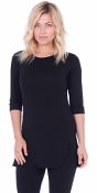 Women's Tunic Tops to Wear with Leggings 3/4 Sleeve - Made In USA - Black