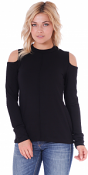 Women's Cold Shoulder Top - Long Sleeve Cut Out Shoulder Style - Made In USA - Black