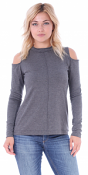 Women's Cold Shoulder Top - Long Sleeve Cut Out Shoulder Style - Made In USA - Charcoal