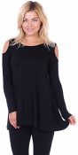 Open Cut Out Cold Shoulder Tunic Top for Women - Long Sleeve Top for Leggings - Made In USA - Black