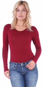Women's Bodysuit Basic Long Sleeve Scoop Neck Top with Snap Crotch  - Made In USA - Burgundy