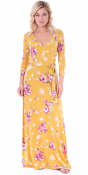 Maxi Dress With Sleeves - Casual Colorful Floral Summer Wedding Prints - Made In USA - ST77
