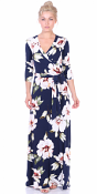 Maxi Dress With Sleeves - Casual Colorful Floral Summer Wedding Prints - Made In USA - ST84