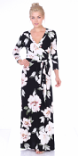 Maxi Dress With Sleeves - Casual Colorful Floral Summer Wedding Prints - Made In USA - ST85