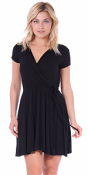 Women's Swing Cap Sleeve Midi Above the Knee Length Summer Dress - Made In USA - Black