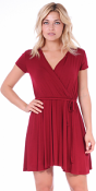 Women's Swing Cap Sleeve Midi Above the Knee Length Summer Dress - Made In USA - Burgundy