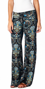 Print Palazzo Pants - Made in USA - ST01