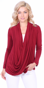 Long Sleeve Criss Cross Cardigan Also in Plus Size - Made In USA - Burgundy