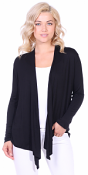 Super-Soft Open Front Drape Cardigan - Made In USA - Black